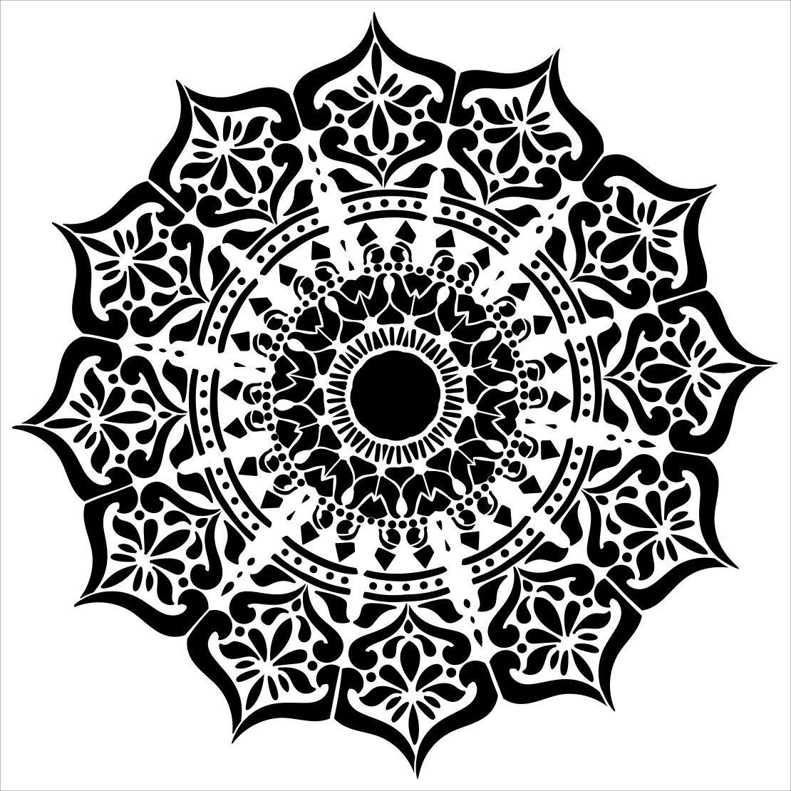 Mandala - India Stencil by StudioR12 | Reusable Mylar Template | Use to Paint Wood Signs - Pallets - Pillows - Wall Art - Floor Tile - Select Size