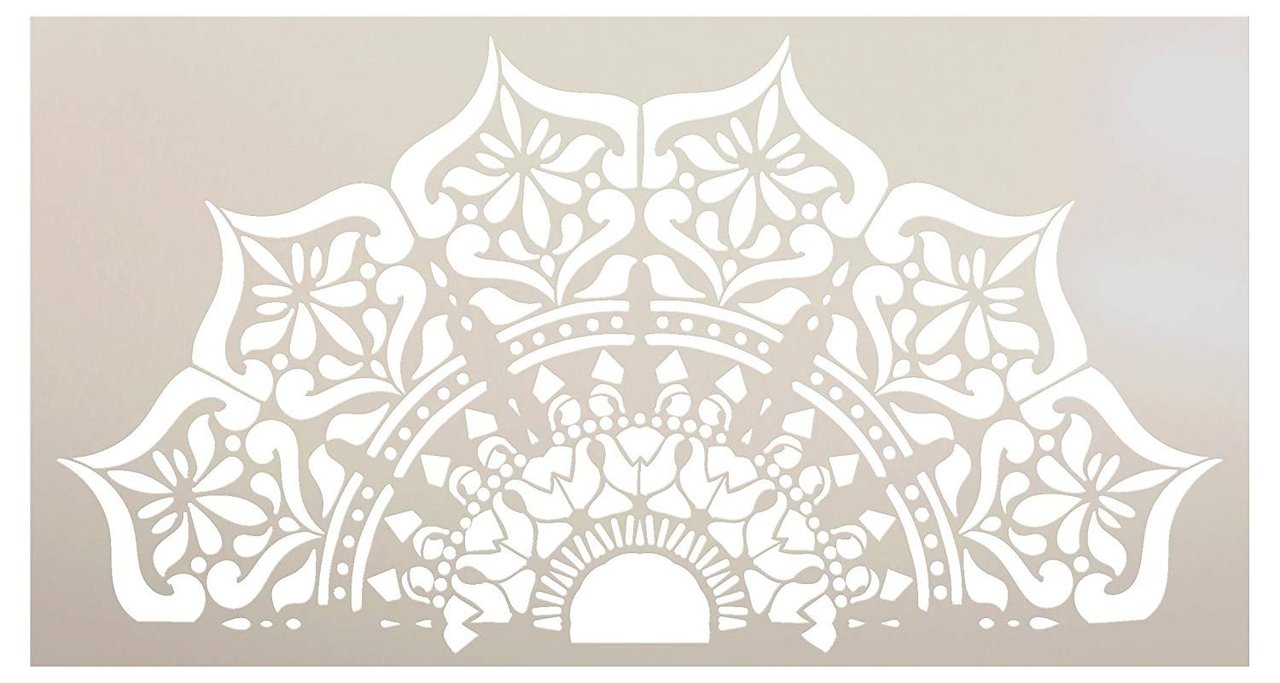 Mandala - India - Repeatable Half Design Stencil by StudioR12 | Reusable Mylar Template | Use to Paint Wood Signs - Pallets - Pillows - Wall Art - Floor Tile - Select Size