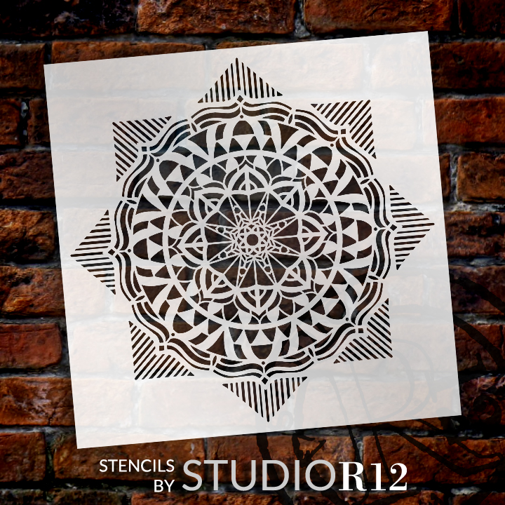 Mandala - Geometric - Complete Stencil by StudioR12 | Reusable Mylar Template | Use to Paint Wood Signs - Pallets - Pillows - Wall Art - Floor Tile - Select Size