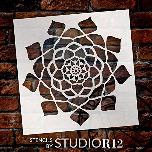 Mandala - Hypnotic - Complete Stencil by StudioR12   Reusable Mylar Template   Use to Paint Wood Signs - Pallets - Pillows - Wall Art - Floor Tile - Select Size