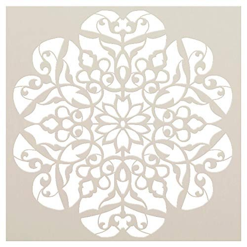 Mandala - Flower Swirls - Complete Stencil by StudioR12 | Reusable Mylar Template | Use to Paint Wood Signs - Pallets - Pillows - Wall Art - Floor Tile - Select Size