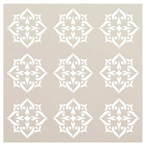 Mandala - Spades - 9 Tile Pattern Stencil by StudioR12 | Reusable Mylar Template | Use to Paint Wood Signs - Pallets - Pillows - Wall Art - Floor Tile - Select Size