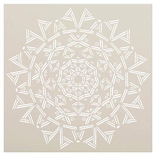 Mandala - Triangles - Complete Stencil by StudioR12 | Reusable Mylar Template | Use to Paint Wood Signs - Pallets - Pillows - Wall Art - Floor Tile - Select Size