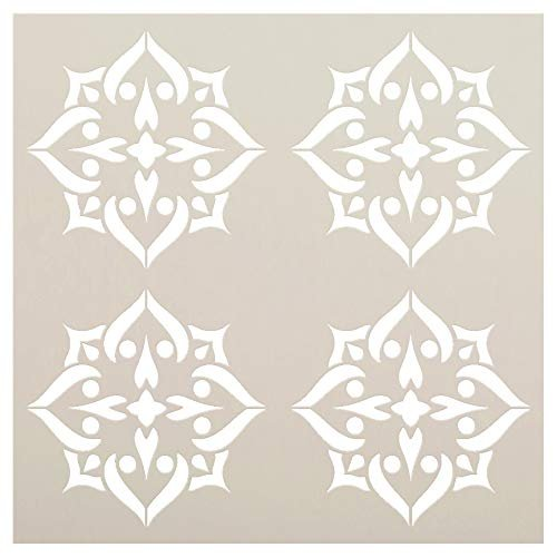 Mandala - Spades - 4 Tile Pattern Stencil by StudioR12 | Reusable Mylar Template | Use to Paint Wood Signs - Pallets - Pillows - Wall Art - Floor Tile - Select Size