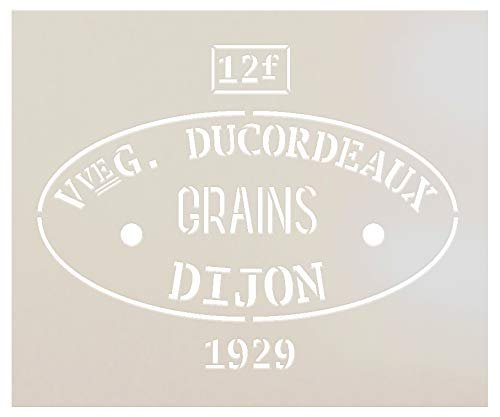 Ducordeaux Dijon Grains Feed Sack Art Stencil by StudioR12 | Reusable Mylar Template | Use to Paint Wood Signs - Pallets - Feed Sack - DIY Country Decor - Select Size