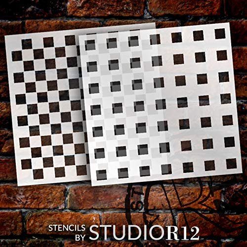 Gingham Plaid Squares Stencil - 2 Part by StudioR12 | Reusable Mylar Template | Use to Paint Wood Signs - Pillows - Flour Sack - Towels - DIY Country Decor - Select Size
