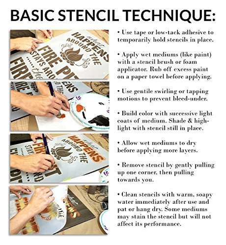 Megeon Upper & Lower Case Lettering Stencil - 2 Part by StudioR12   Reusable Mylar Template   Use to Paint Wood Signs - Pillows - Monogram - DIY Lettering Projects - Select Size