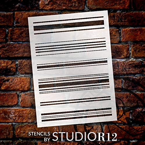 Flour Sack Tea Towel Stripes Stencil by StudioR12 | Reusable Mylar Template | Use to Paint Wood Signs - Pallets - Flour Sack - Towels - DIY Country Decor - Select Size