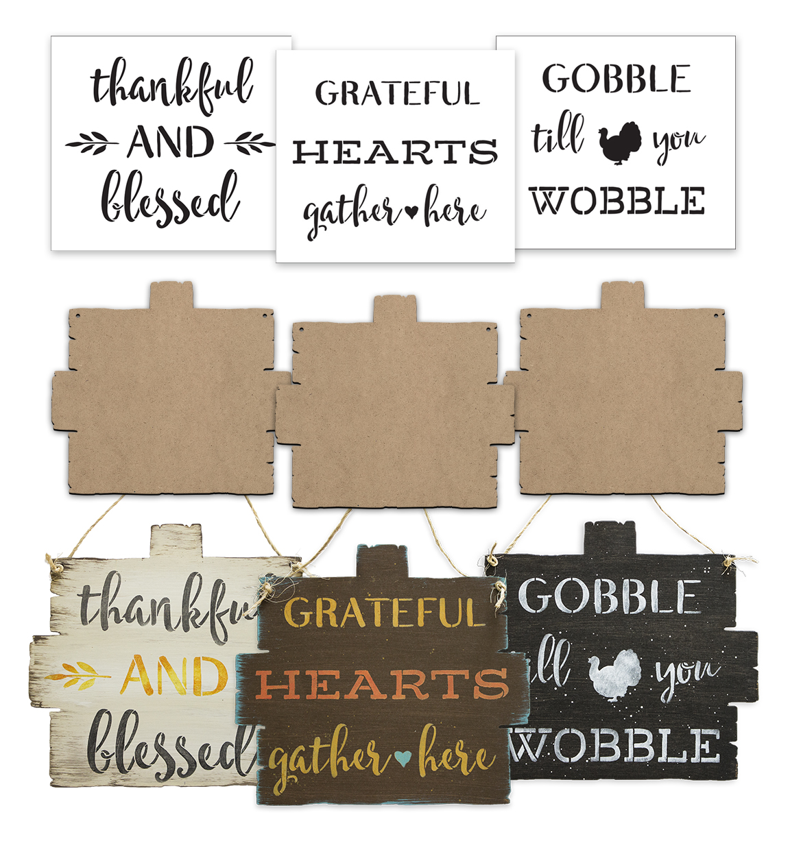 Rustic Pumpkin Fall Sign Surface & Stencil Set - Small - CMBN405_1