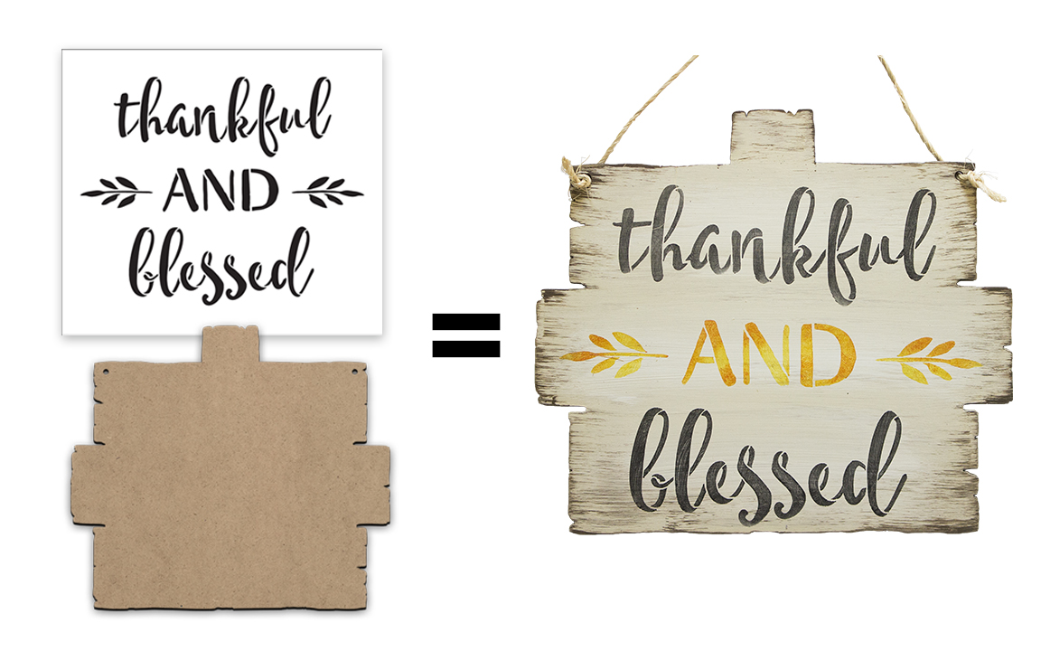 Thankful And Blessed Sign Surface & Stencil Set - Small - CMBN408_1