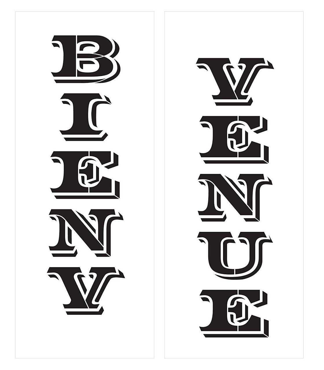 Bienvenue - Vertical Stencil - 2 Part - by StudioR12 | Reusable Mylar Template | Use to Paint Wood Signs - Walls - Pallets - DIY Home French Welcome Decor - Select Size