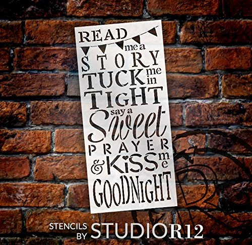 Read Me A Story & Kiss Me Goodnight Stencil by StudioR12   Reusable Mylar Template   Use to Paint Wood Signs - Pallets - Pillows - DIY Child's Room Decor - Select Size