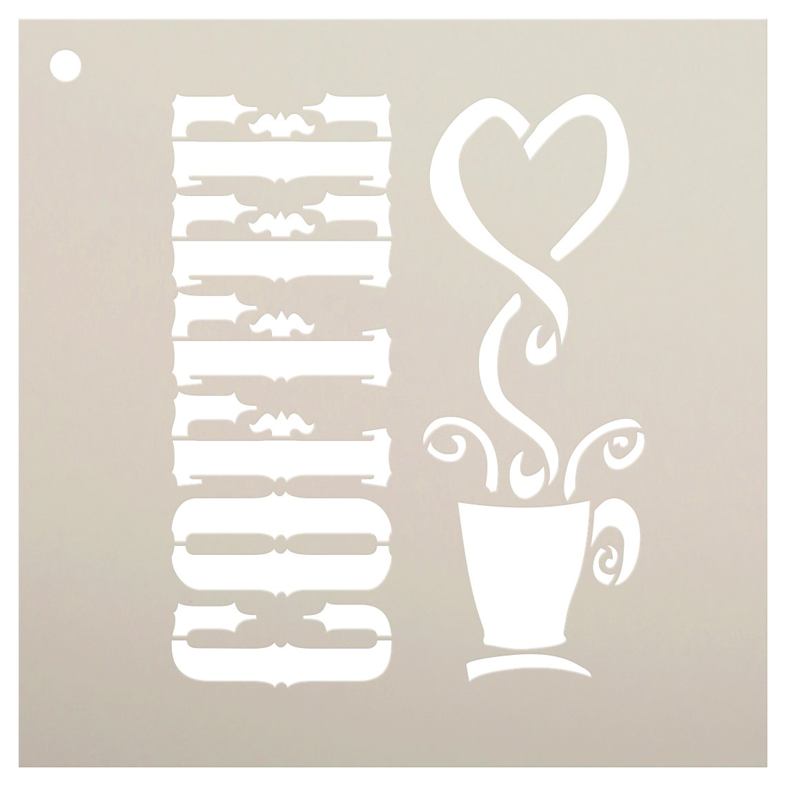 Coffee Stencil by StudioR12 | Love Coffee Word Art - Reusable Mylar Template | Painting, Chalk, Mixed Media | Use for Journaling, DIY Home Decor - STCL815
