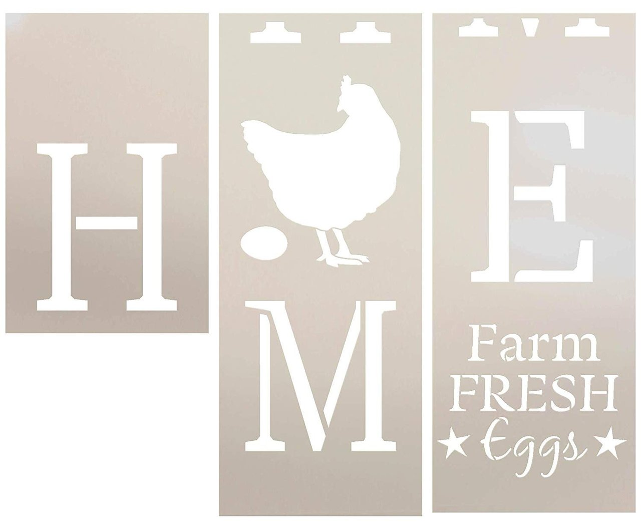 Home Tall Porch Stencil with Chicken by StudioR12 | 3 Piece | Farm Fresh Eggs | DIY Large Vertical Country Farmhouse Outdoor Decor | Craft & Paint Wood Leaner Sign | Reusable Mylar Template | Size 6ft