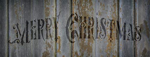 Merry Christmas Ornate Stencil - by StudioR12 | Reusable Mylar Template | Use to Paint Wood Signs - Pallets - Pillows - DIY Christmas Season Decor - Select Size