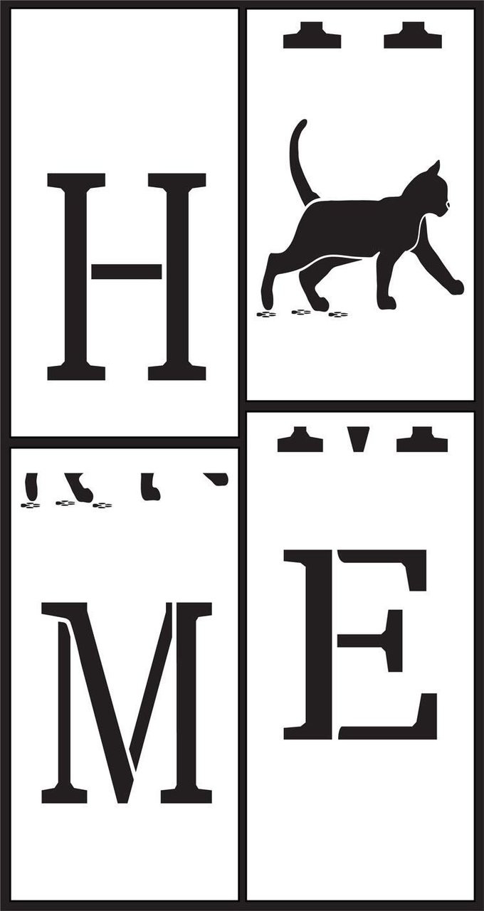 Home Tall Porch Stencil with Cat by StudioR12 | 4 Piece | DIY Large Vertical Animal Pet Lover Outdoor Decor | Front Door Entryway | Craft & Paint Wood Leaner Signs | Reusable Mylar Template | Size 6ft