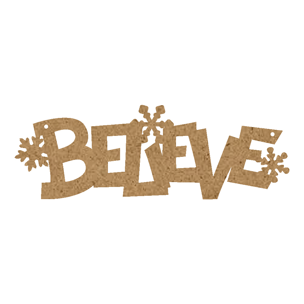 Christmas Word Ornament - Believe With Snowflakes