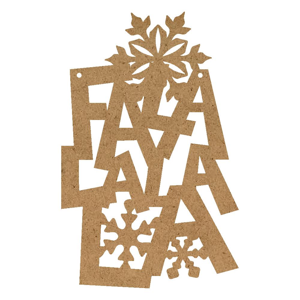 Christmas Word Ornament - Fa La La La With Snowflakes