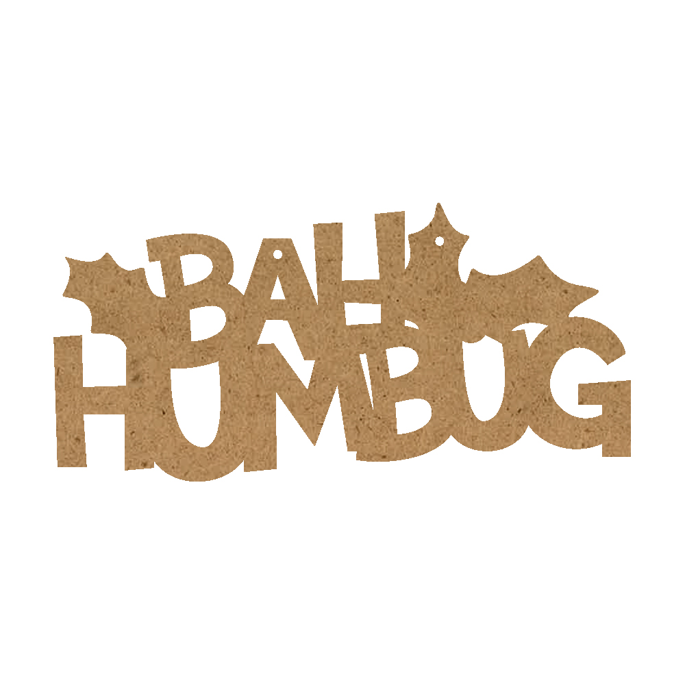 Christmas Word Ornament - Bah Humbug With Holly