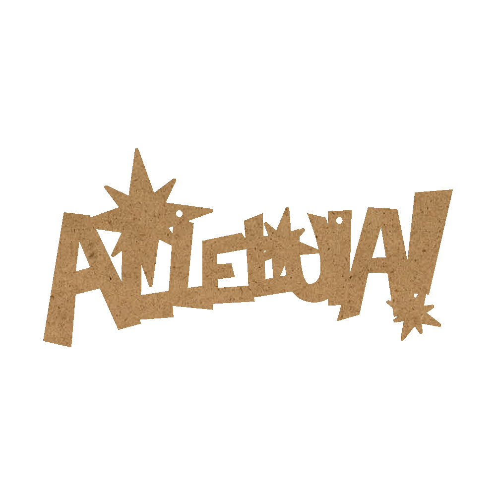 Christmas Word Ornament - Alleluia With Stars