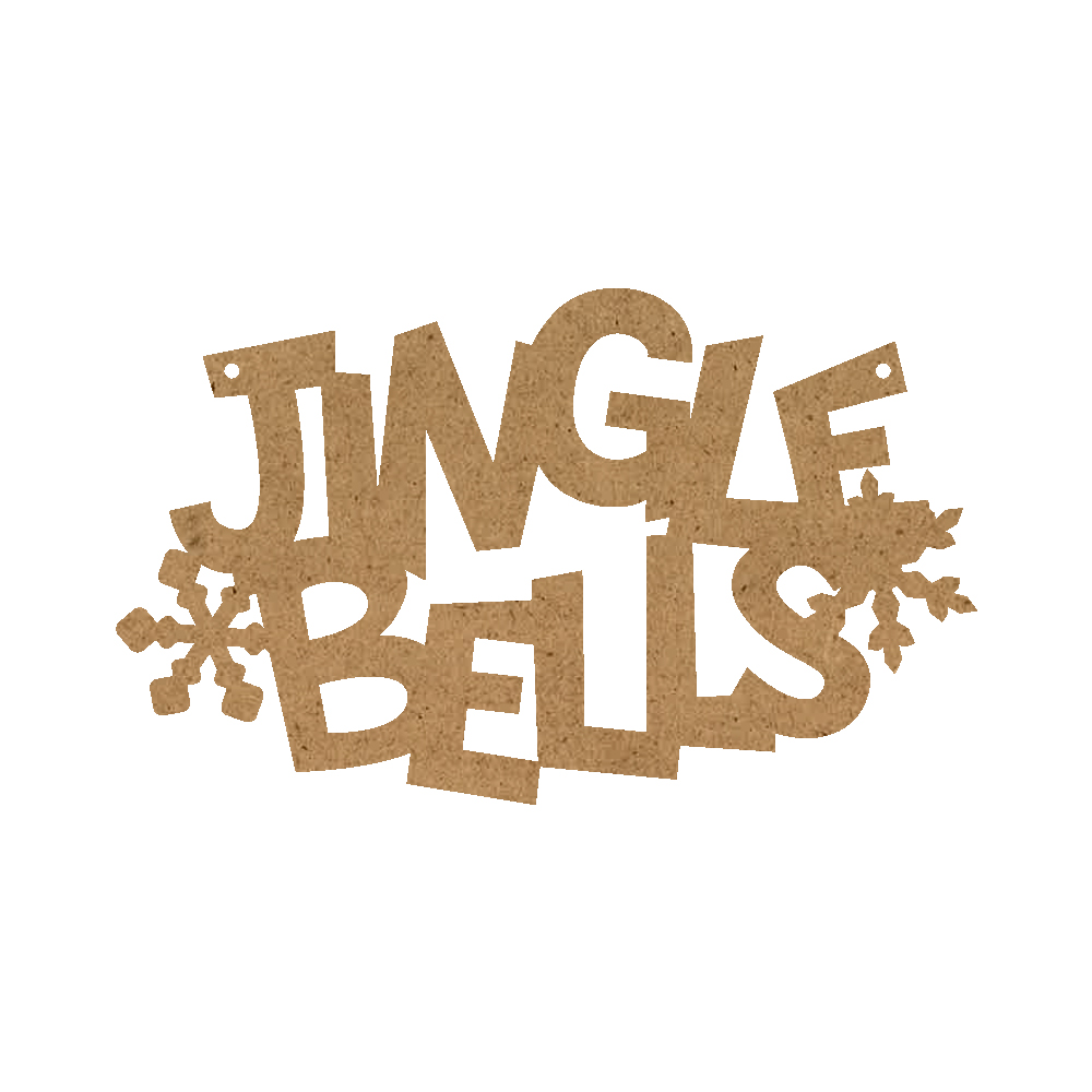 Christmas Word Ornament - Jingle Bells With Snowflakes