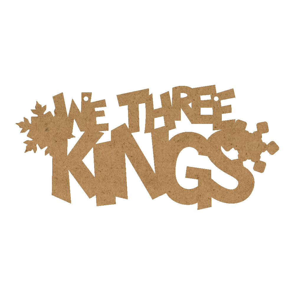 Christmas Word Ornament - We Three Kings With Snowflakes