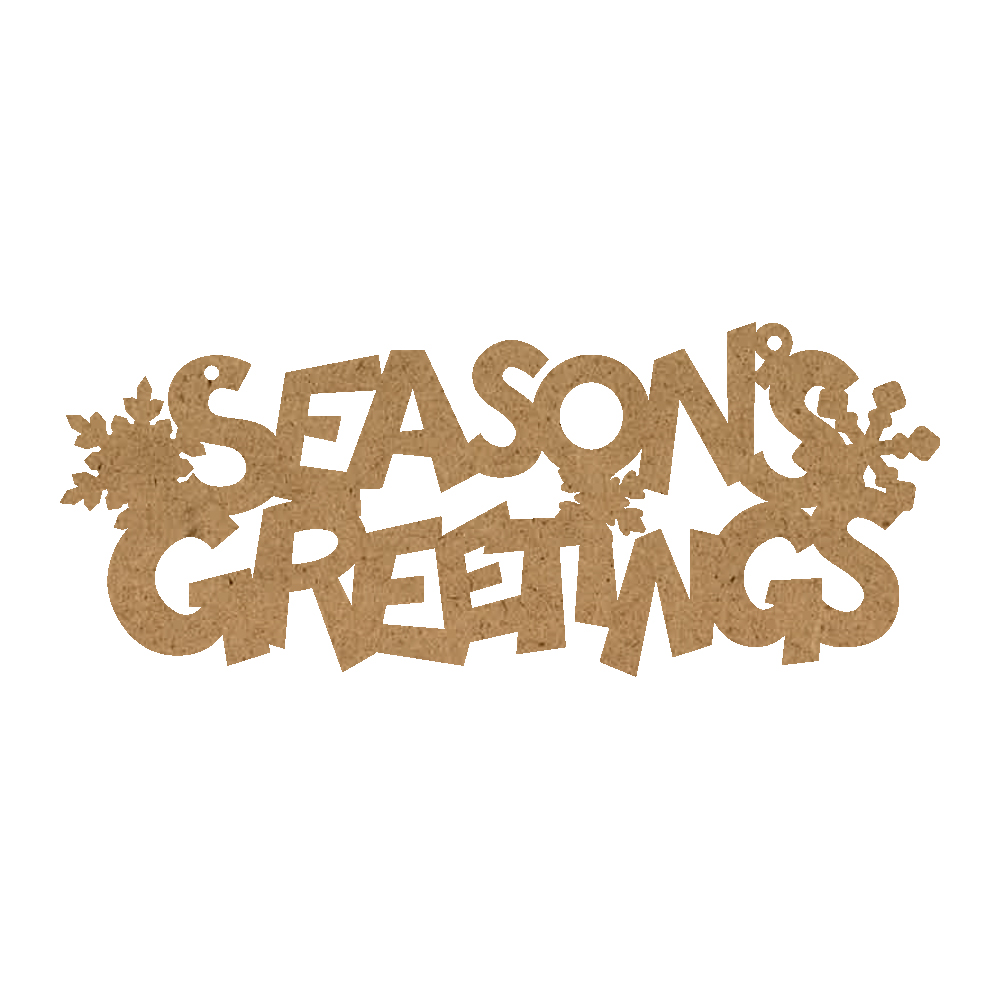 Christmas Word Ornament - Seasons's Greetings With Snowflakes