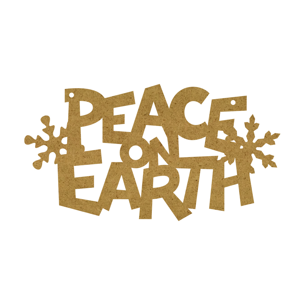 Christmas Word Ornament - Peace On Earth With Snowflakes