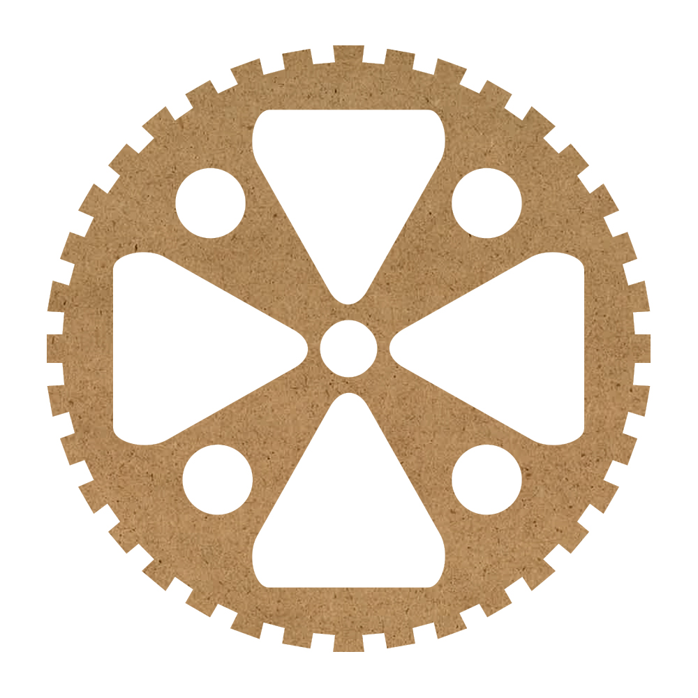 """Industrial Gear Wood Surface - 13"""" x 13"""" - WDSF1410_2"""