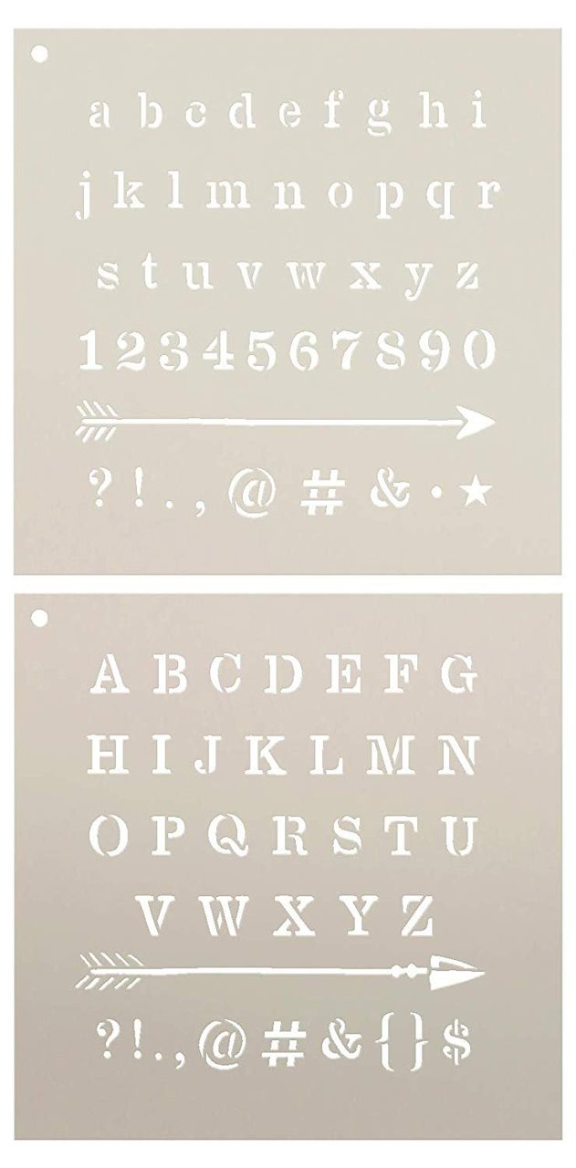 Lettering - Upper & Lower Case with Arrows Stencil - 2 Part by StudioR12 | Reusable Mylar Template | Use to Paint Wood Signs - Pillows - Monogram - DIY Lettering Projects - Select Size