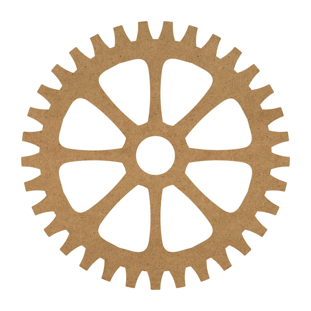 "Eight Sprocket Gear Wood Surface - 16"" x 16"" - WDSF1418_5"