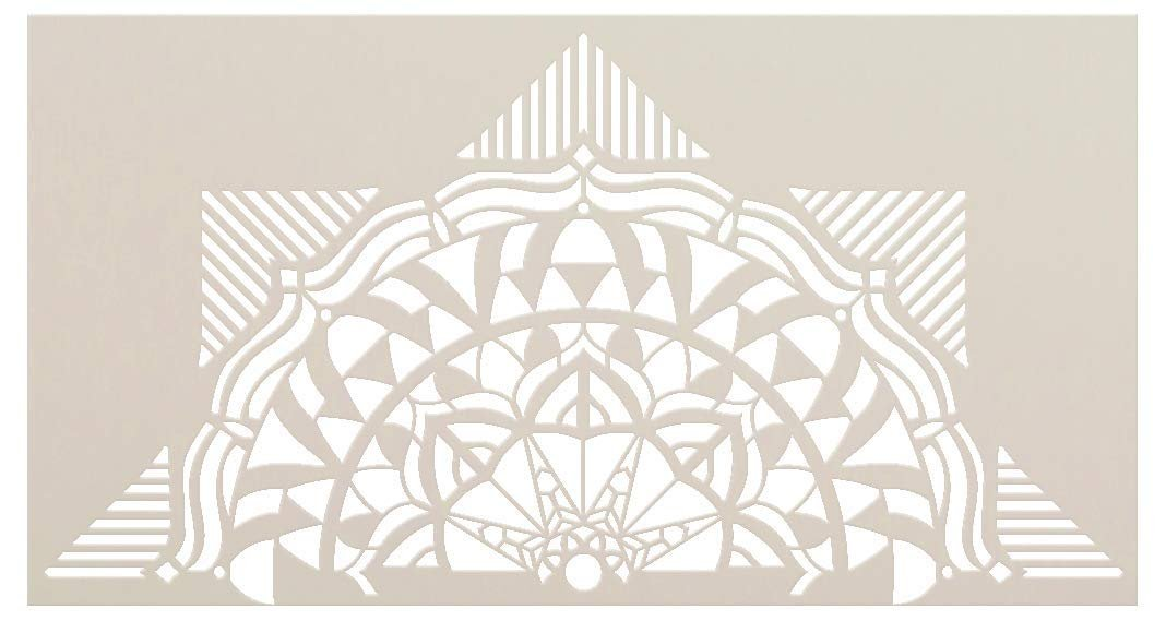 Mandala - Geometric - Half Design Stencil by StudioR12 | Reusable Mylar Template | Use to Paint Wood Signs - Pallets - Pillows - Wall Art - Floor Tile - Select Size