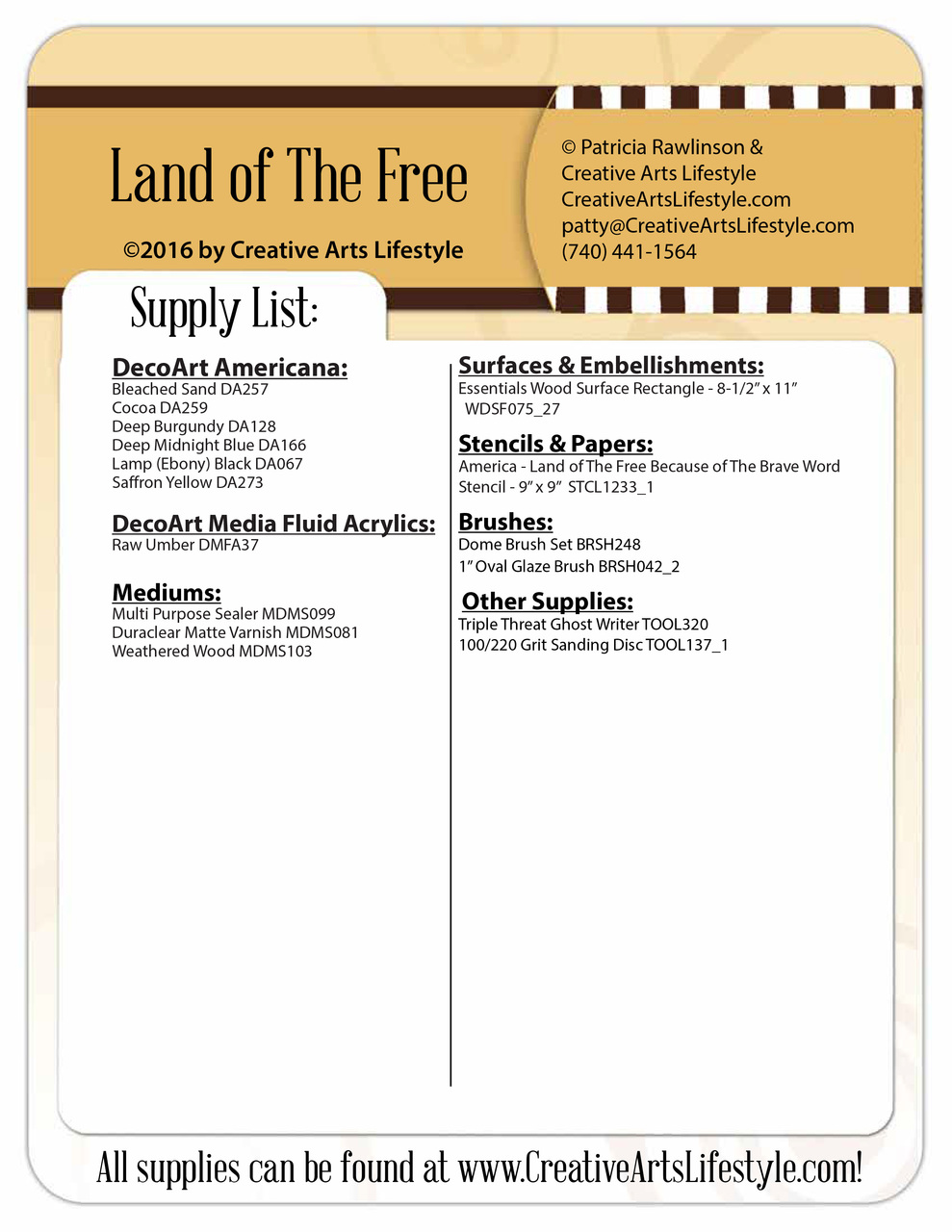 Land Of The Free E-Pattern Packet - Patricia Rawlinson
