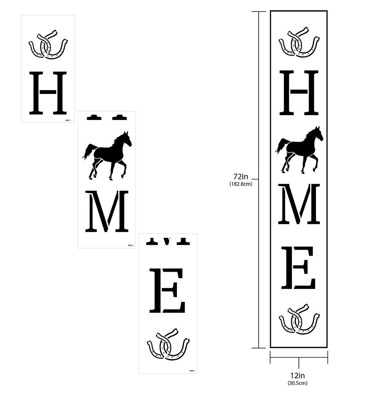 Home Tall Porch Stencil by StudioR12 | Trotting Horse & Horseshoes | 3 Piece | DIY Large Vertical Country Farmhouse Outdoor Decor | Craft & Paint Wood Leaner Signs | Reusable Mylar Template | Size 6ft