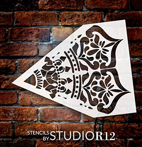 Mandala - India - Repeatable Design Stencil by StudioR12 | Reusable Mylar Template | Use to Paint Wood Signs - Pallets - Pillows - Wall Art - Floor Tile