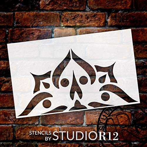 Mandala - Spades - Half Design Stencil by StudioR12 | Reusable Mylar Template | Use to Paint Wood Signs - Pallets - Pillows - Wall Art - Floor Tile - Select Size
