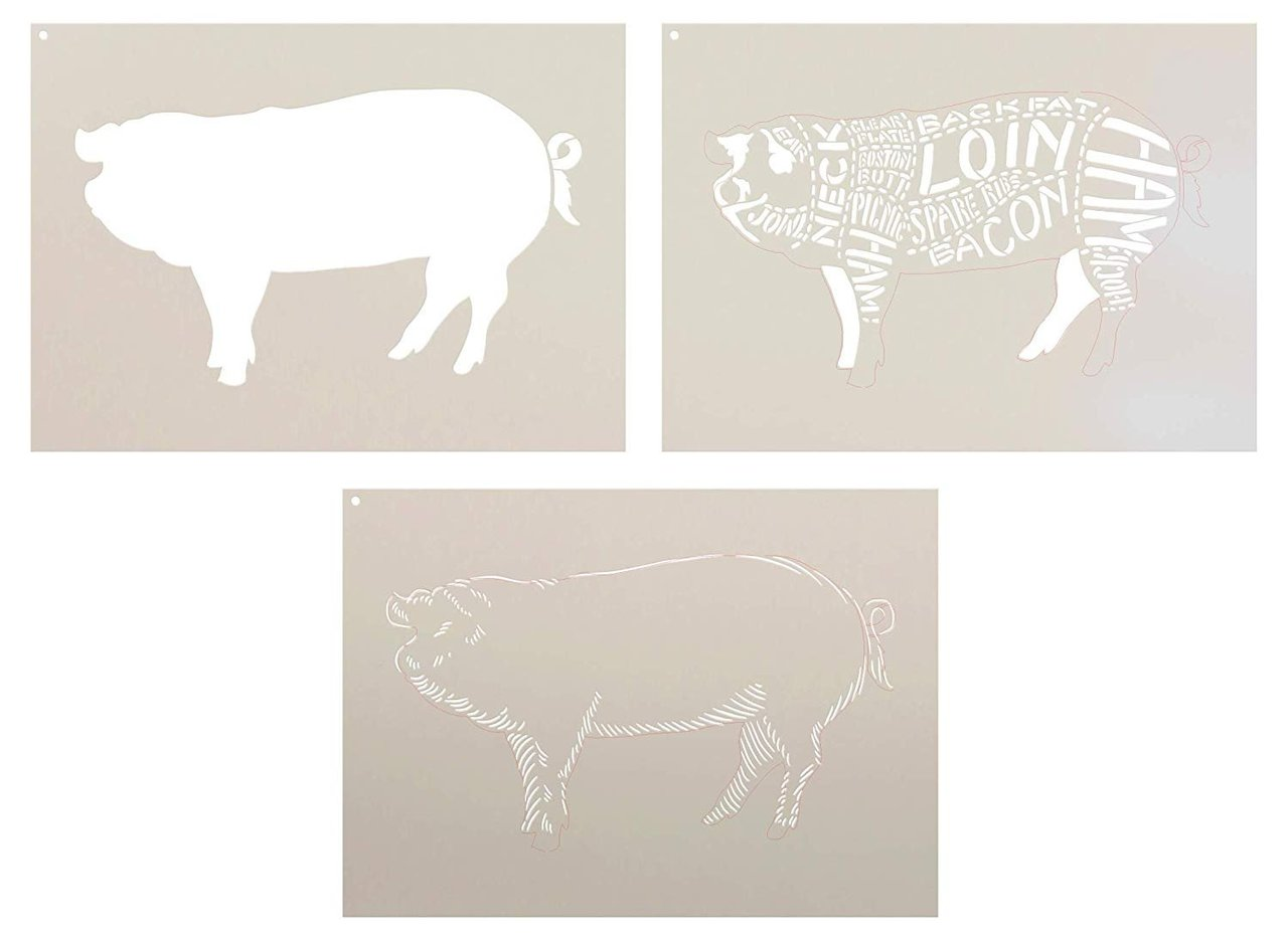 Cuts of Pork Stencil - 3 Part by StudioR12 | Reusable Mylar Template | Use to Paint Wood Signs - Pallets - Butcher Shop - DIY Country Decor - Select Size