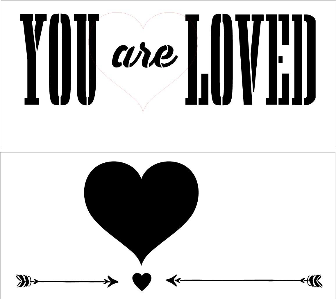 You are Loved with Hearts and Arrows Stencil 2 Part by StudioR12   Reusable Mylar Template   Use to Paint Wood Signs - Pallets - Pillows - DIY Inspirational Home Decor - Select Size