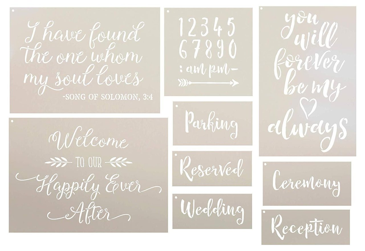 Wedding Collection Stencil Set - 9 Part by StudioR12 | Reusable Mylar Template | Use to Paint Wood Signs - Pillows - DIY Love & Romance Projects - Select Size