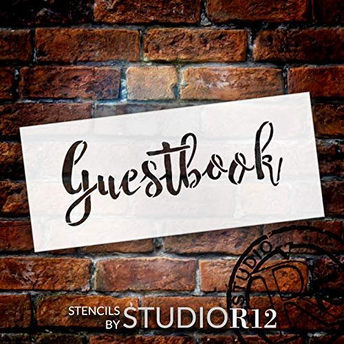 Wedding Sign Word - Guestbook - Rustic Script Stencil by StudioR12 | Reusable Mylar Template | Use to Paint Wood Signs - Pallets - Pillows - DIY Wedding Decor - Select Size