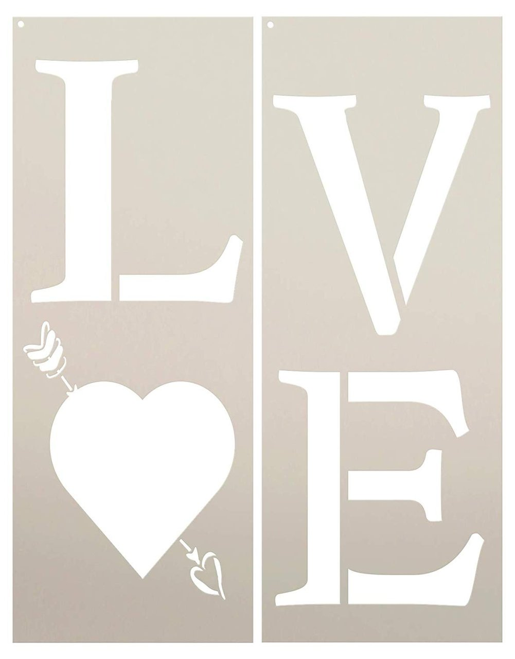 Love Heart & Arrow Tall Porch Stencil by StudioR12 | 2 Piece | DIY Large Vertical Home Decor for Valentine's Day | Front Entryway | Craft & Paint Wood Leaner Signs | Reusable Mylar Template | Size 4ft
