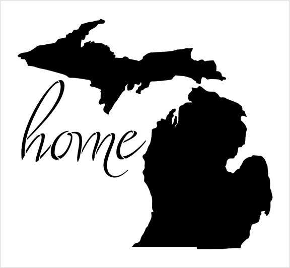Home - Michigan - State Stencil - by StudioR12 | Reusable Mylar Template | Use to Paint Wood Signs - Pallets - Pillows - T-Shirts - DIY Home Decor - Select Size
