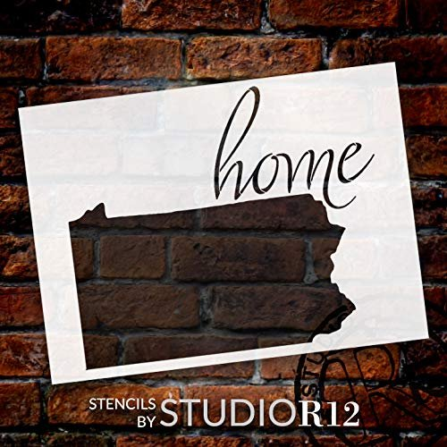 Home - Pennsylvania - State Stencil - by StudioR12 | Reusable Mylar Template | Use to Paint Wood Signs - Pallets - Pillows - T-Shirts - DIY Home Decor - Select Size