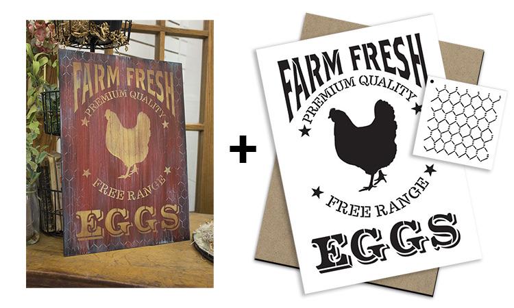 Farm Fresh Eggs Project + Stencil + Surface Set