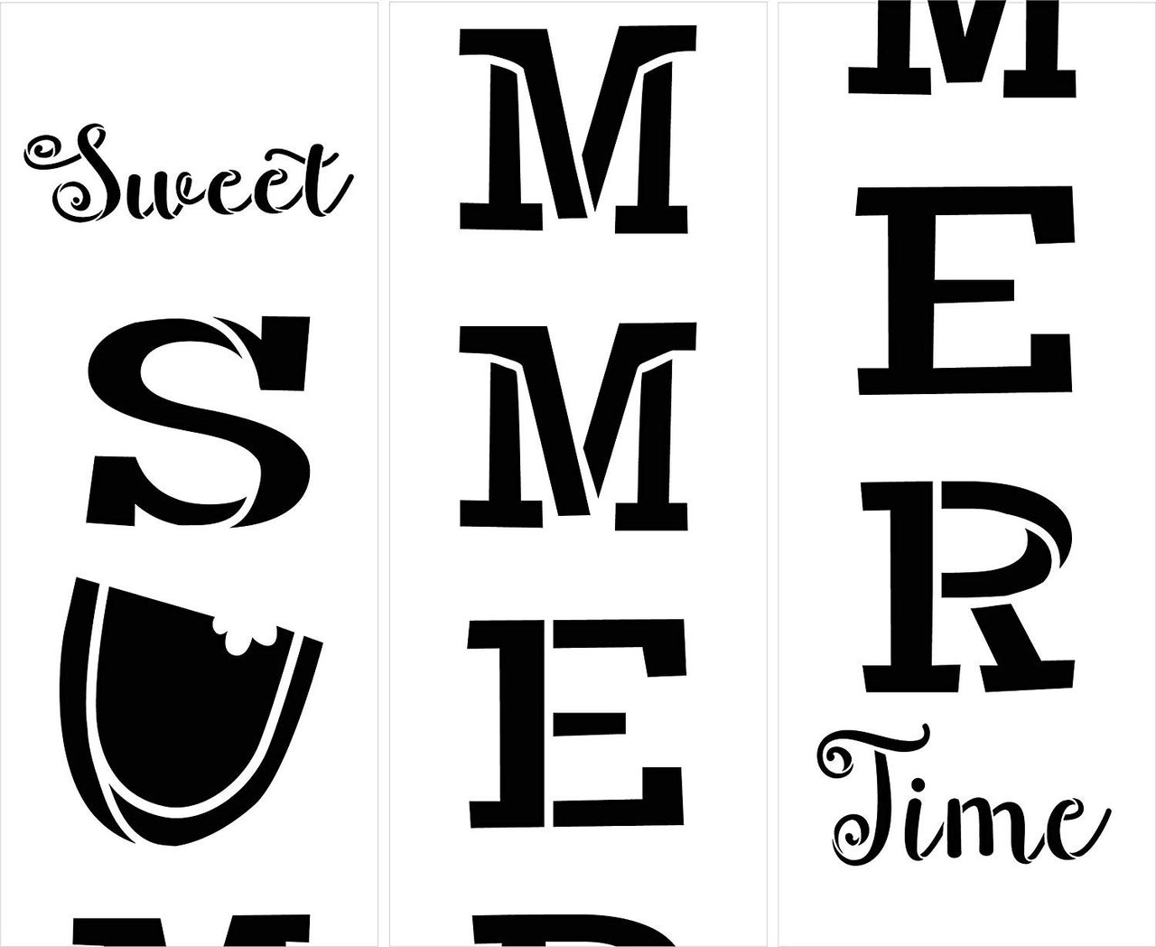 Sweet Summer Time Tall Porch Stencil with Watermelon by StudioR12 | 3 Piece | DIY Large Vertical Outdoor Home Decor for Entryway | Craft & Paint Wood Leaner Signs | Reusable Mylar Template | Size 6ft