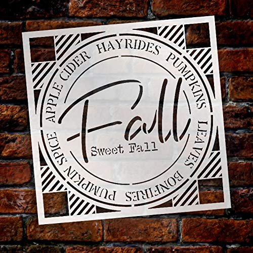 Fall Sweet Fall Buffalo Plaid Stencil by StudioR12 | Painting Wood Sign | Furniture Totes Fabric | Apple Cider Bonfire Pumpkin Pattern | Diagonal Square Pattern | DIY Home Decor - Choose Size