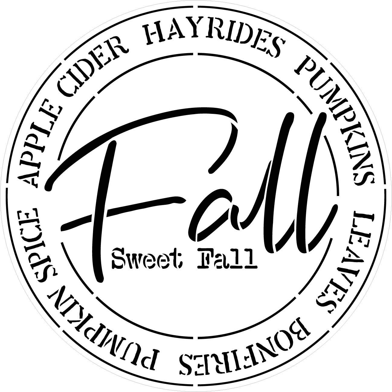 Fall Sweet Fall Round Stencil by StudioR12 | Painting Wood Sign | Furniture Totes Fabric | Apple Cider Bonfire Pumpkin Pattern | Diagonal Square Pattern | DIY Home Decor - Choose Size