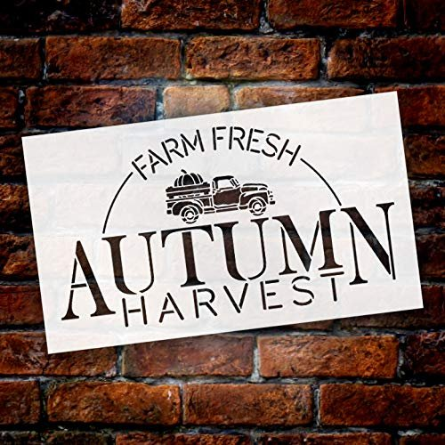 Farm Fresh Autumn Harvest with Vintage Pumpkin Truck Stencil by StudioR12   Paint Signs   Word Art Reusable   Family Dining Room   Paint Chalk Mixed Media Multi-Media   DIY Home - Choose Size