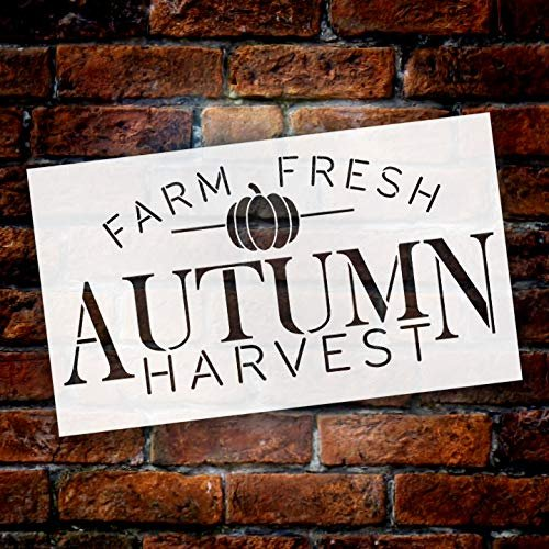 Farm Fresh Autumn Harvest Small Pumpkin Stencil by StudioR12 | Wood Signs | Word Art Reusable | Family Dining Room | Painting Chalk Mixed Media Multi-Media | DIY Home - Choose Size