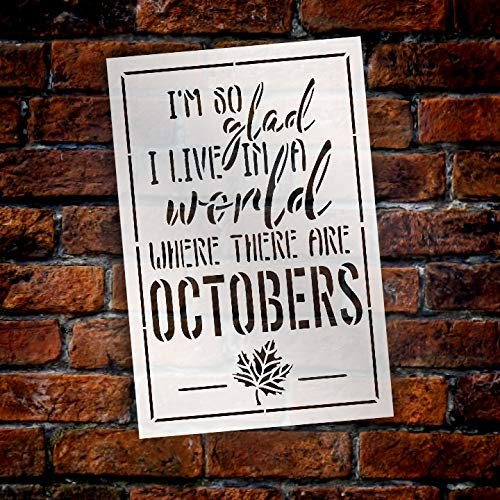 A World Where There are Octobers Fall Stencil by StudioR12 | Wood Sign | Reusable Mylar Template | Wall Decor | Multi Layering Art Project | Journal Art Deco | DIY Home - Choose Size